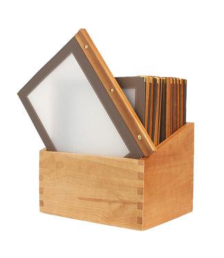 Securit Menumappen 'WOOD' A4 Set 20 stuks in Houten Box Bruin