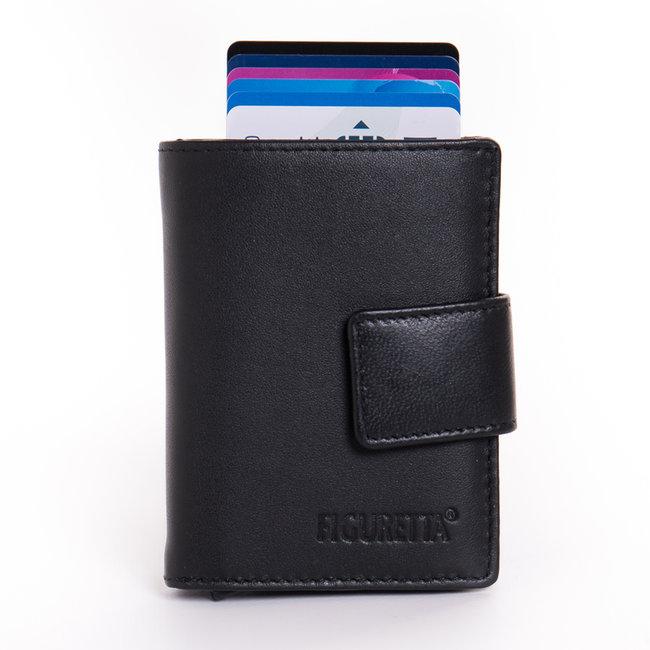Figuretta Cardprotector Leren Portemonnee met RFID Bescherming Zwart