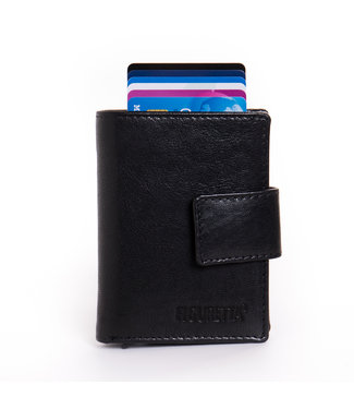 Figuretta Cardprotector met Muntvak RFID   Glanzend Leder   Zwart