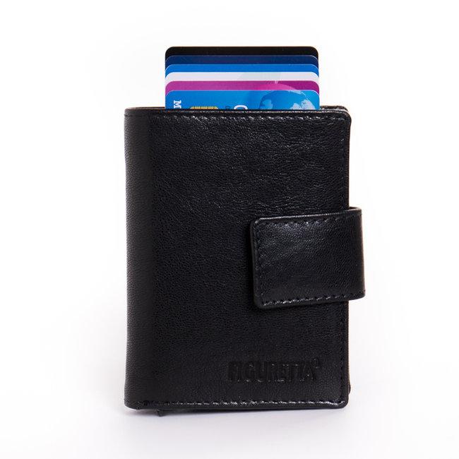 Figuretta Cardprotector met Muntvak RFID | Glanzend Leder | Zwart