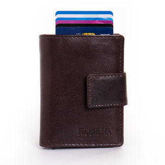 Figuretta Cardprotector met Muntvak RFID   Glanzend Leder   Bruin