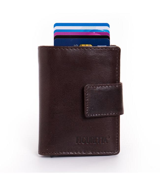 Figuretta Cardprotector met Muntvak RFID | Glanzend Leder | Bruin