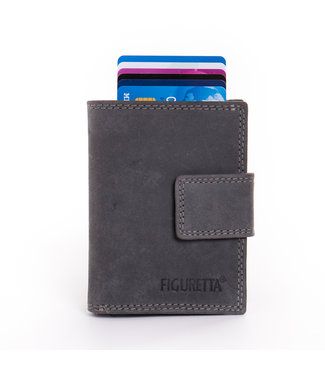 Figuretta Card Protector Hunter Pull-up Leder met rits - Antraciet