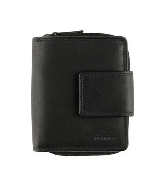 DSTRCT Wax Lane Leren Dames Portemonnee RFID met Rits - Zwart