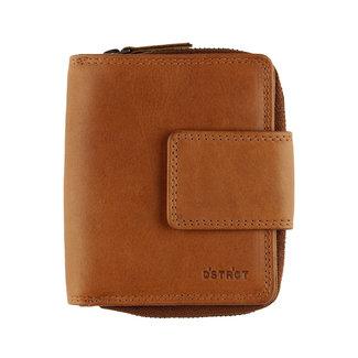 DSTRCT Wax Lane Leren Dames Portemonnee RFID met Rits - Bruin