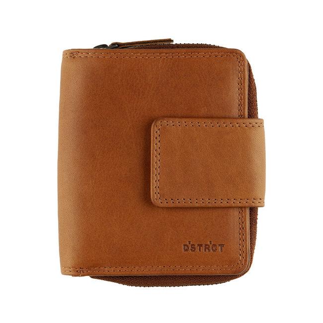 DSTRCT Wax Lane Leren Dames Portemonnee RFID met Rits - Zwart - Bruin