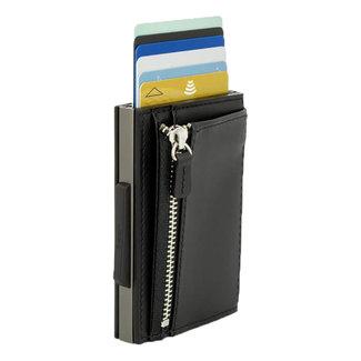 Ogon Designs Cascade Zipper RFID Cardprotector met vak voor kleingeld - Titanium - Zwart