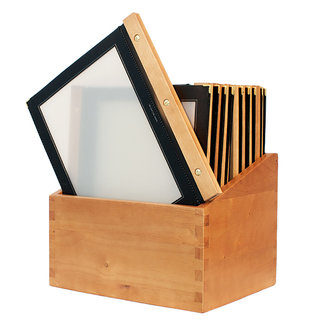 Securit Menumappen 'WOOD' A4 Set 20 stuks in Houten Box Zwart