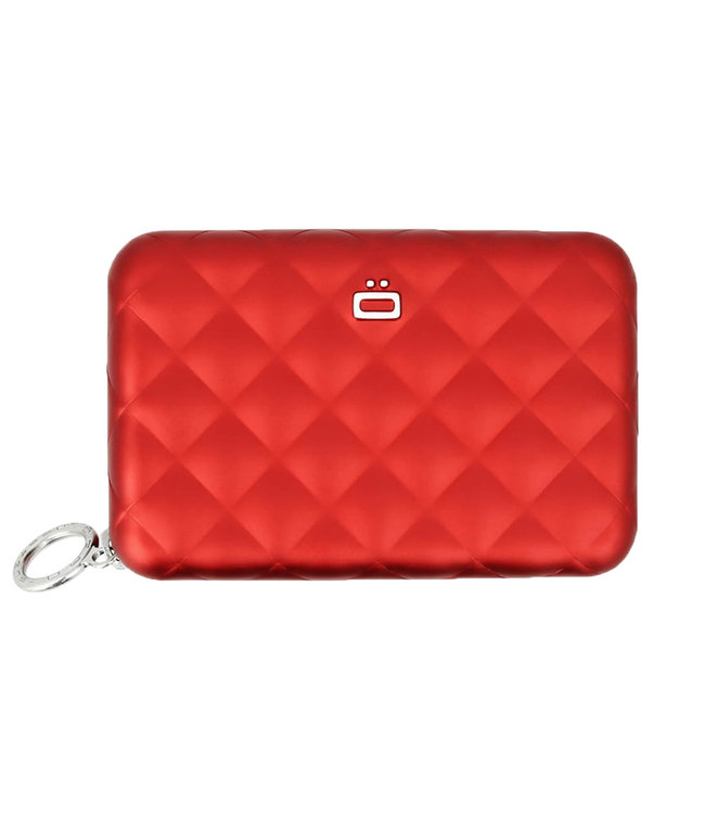 Ogon Designs Quilted Zipper RFID Dames Creditcardhouder met Rits - Rood