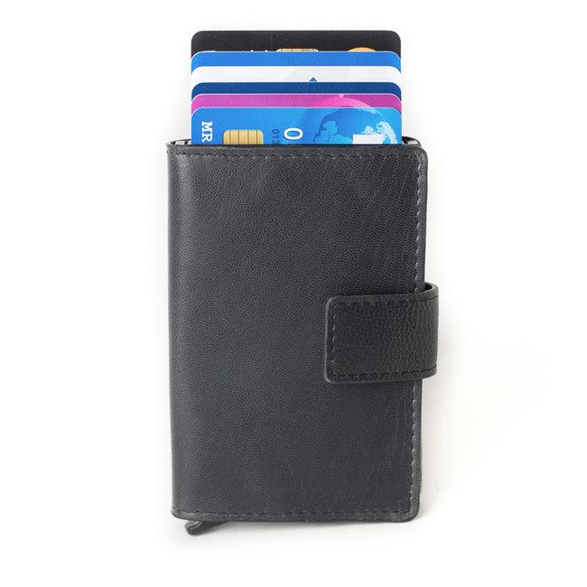 Figuretta Leren Cardprotector RFID Compact Creditcardhouder Zwart