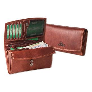 Woodland Vintage Dames Overslag Portemonnee | Oil pull-up Leer | Bruin
