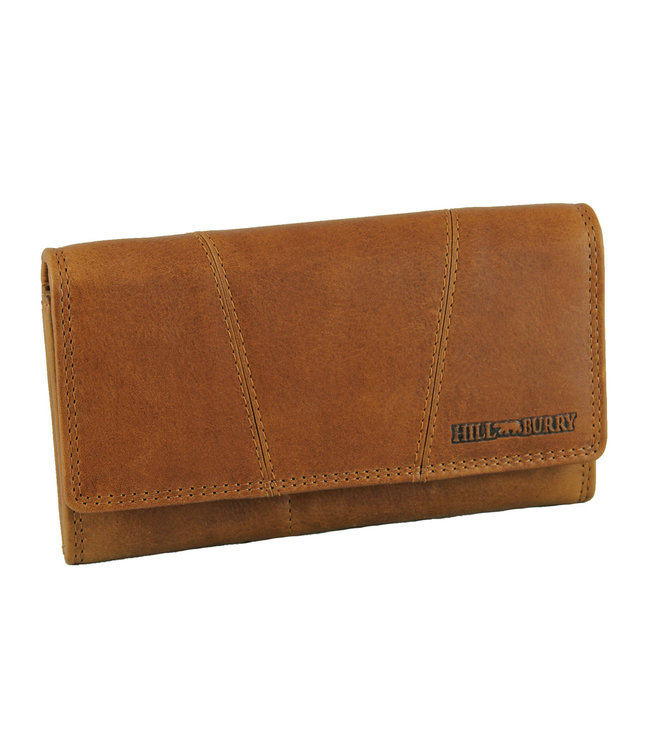 HillBurry Leren Dames Portemonnee - VL777023 - Vintage Leer - RFID - Bruin