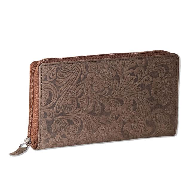 Woodland Dames Portemonnee met Rits rondom - Stijlvolle Bloemenprint - Echt Leer - Donkerbruin