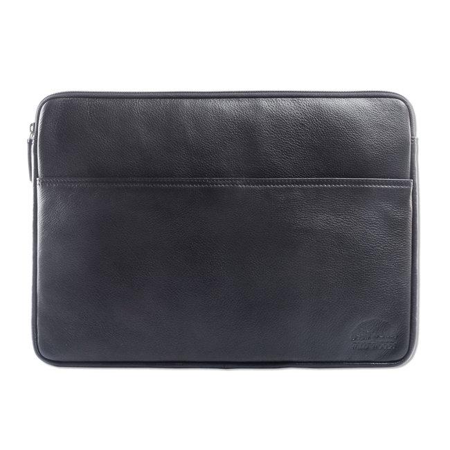 WILD WOODS Leren 15,6 inch Universele Laptophoes – Laptop Sleeve – Geschikt voor Macbook Pro - Nappa Leer - Zwart