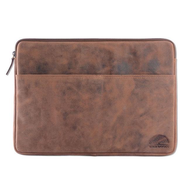 WILD WOODS Leren 15,6 inch Universele Laptophoes – Laptop Sleeve – Geschikt voor Macbook Pro - Buffelleer - Vintage Bruin