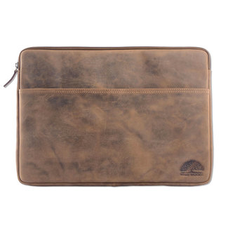 WILD WOODS Leren 15,6 inch Universele Laptophoes – Laptop Sleeve – Geschikt voor Macbook Pro - Buffelleer - Vintage Lichtbruin