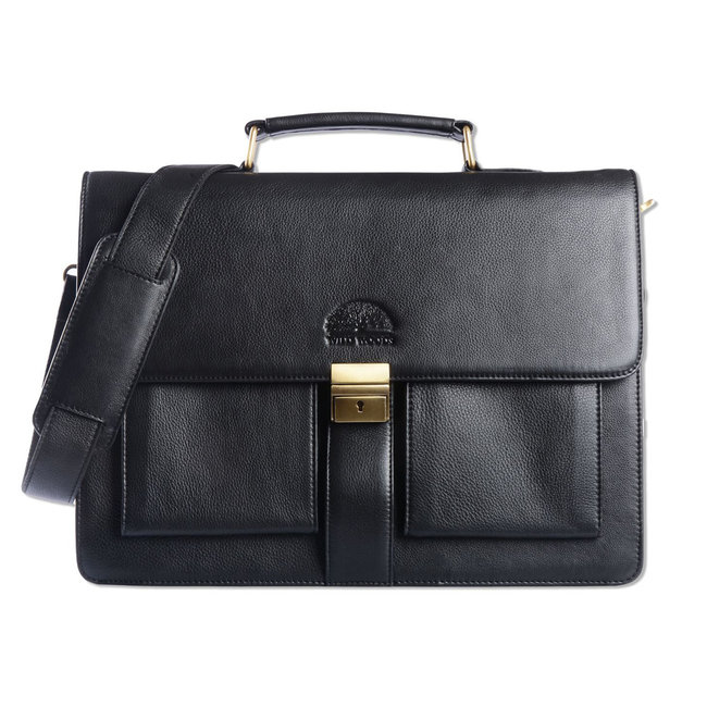 WILD WOODS Leren Briefcase Aktetas met 15,6 inch Laptopvak – Business Laptoptas – Nappa Leer - Zwart