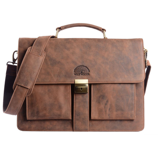 WILD WOODS Leren Briefcase Aktetas met 15,6 inch Laptopvak – Business Laptoptas – Buffelleer - Vintage Bruin