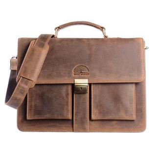 WILD WOODS Leren Briefcase Aktetas met 15,6 inch Laptopvak – Business Laptoptas – Buffelleer - Vintage Lichtbruin