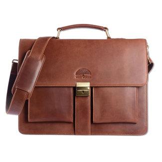 WILD WOODS Leren Briefcase Aktetas met 15,6 inch Laptopvak – Business Laptoptas – Oil Pull-up Leer - Cognac