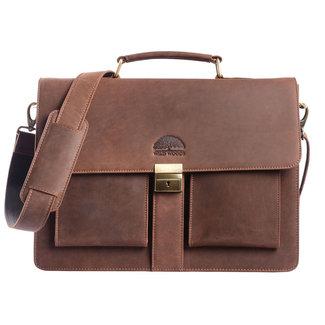 WILD WOODS Leren Briefcase Aktetas met 15,6 inch Laptopvak – Business Laptoptas – Buffelleer - Vintage Donkerbruin