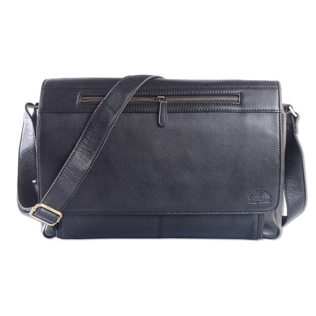 WILD WOODS Leren Laptop Messenger Bag Unisex Schoudertas – 15,6 inch Laptoptas – Nappa Leer - Zwart