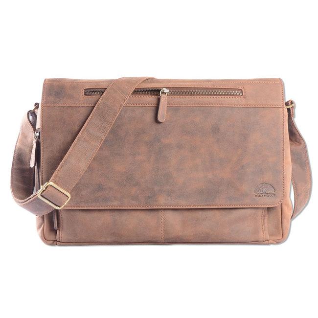 WILD WOODS Leren Laptop Messenger Bag Unisex Schoudertas – 15,6 inch Laptoptas – Buffelleer - Vintage Bruin