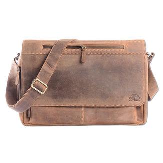 WILD WOODS Leren Laptop Messenger Bag Unisex Schoudertas – 15,6 inch Laptoptas – Buffelleer - Vintage Lichtbruin