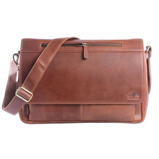 WILD WOODS Leren Laptop Messenger Bag Unisex Schoudertas – 15,6 inch Laptoptas – Oil Pull-up Leer - Cognac