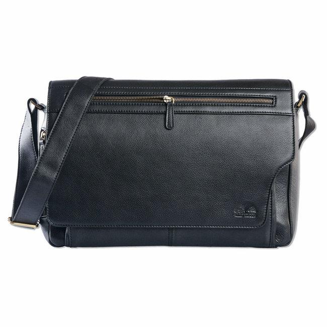 WILD WOODS Leren Messenger Schoudertas 15,6 inch Laptoptas – Unisex – Ronding uit Flap - Nappa Leer - Zwart