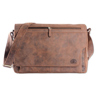 WILD WOODS Leren Messenger Schoudertas 15,6 inch Laptoptas – Unisex – Ronding uit Flap - Buffelleer - Vintage Bruin