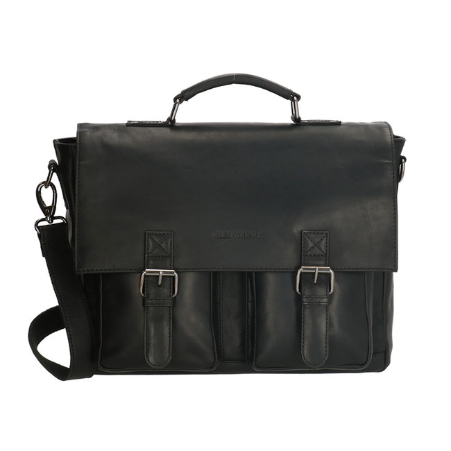 Old West Houston Laptoptas Leren Aktetas - 15,6 inch - Zwart