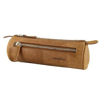 Landley Leren Etui voor Pennen - Rond - Hoogwaardig Vintage Pull-up Leer -  Bruin