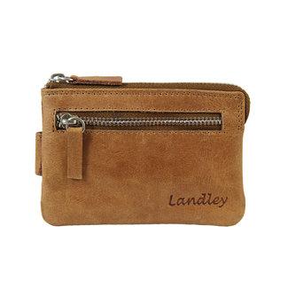 Landley Leren Sleuteletui met vakken voor Pasjes - Dames / Heren - Sleuteltasje -  Vintage Oil Pull-up Leer - Bruin
