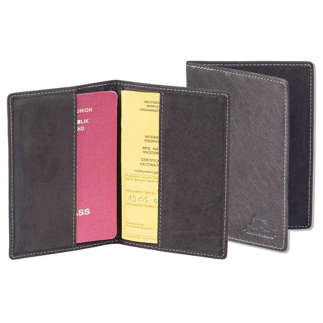 Woodland Leren Etui voor Paspoort en Gele Boekje - Echt Leer - Grijs / Antraciet