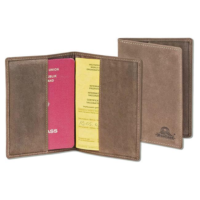 Woodland Leren Etui voor Paspoort en Gele Boekje - Echt Leer - Donkerbruin