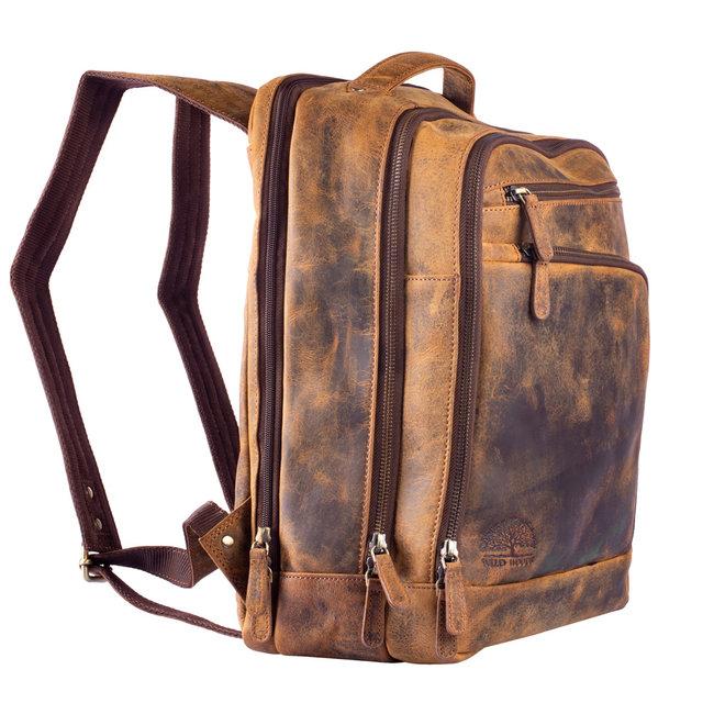 WILD WOODS Leren Unisex Laptop Rugtas 13.3 inch - Dames en Heren Rugzak met 13 inch Laptopvak - Veel Compartimenten - Buffelleer - Vintage Bruin