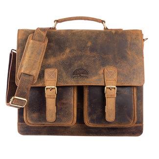 WILD WOODS Leren Aktetas XL - Unisex Business Schoudertas - Buffelleer - Vintage Bruin