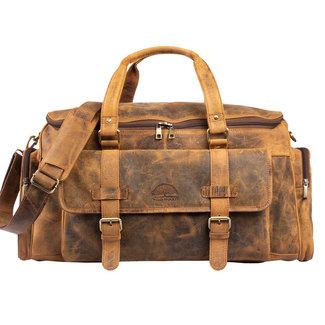 WILD WOODS Leren Reistas Weekendtas - Dames en Heren - Duffle Bag met extra Opbergvak - Buffelleer - Vintage Bruin