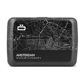 Ogon Designs Stockholm V2 RFID Creditcardhouder - V2.0 Smart Case - Aluminium - Zwart - City Map - Amsterdam