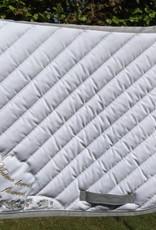 ANIMO ANIMO dressuur zadeldoek wit/pipping grijs