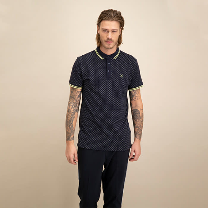 Kultivate Kultivate Lime Cross Polo Navy