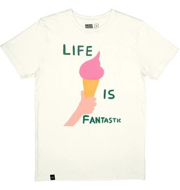 Dedicated Dedicated Stockholm Life is Fantastic Tee Off White