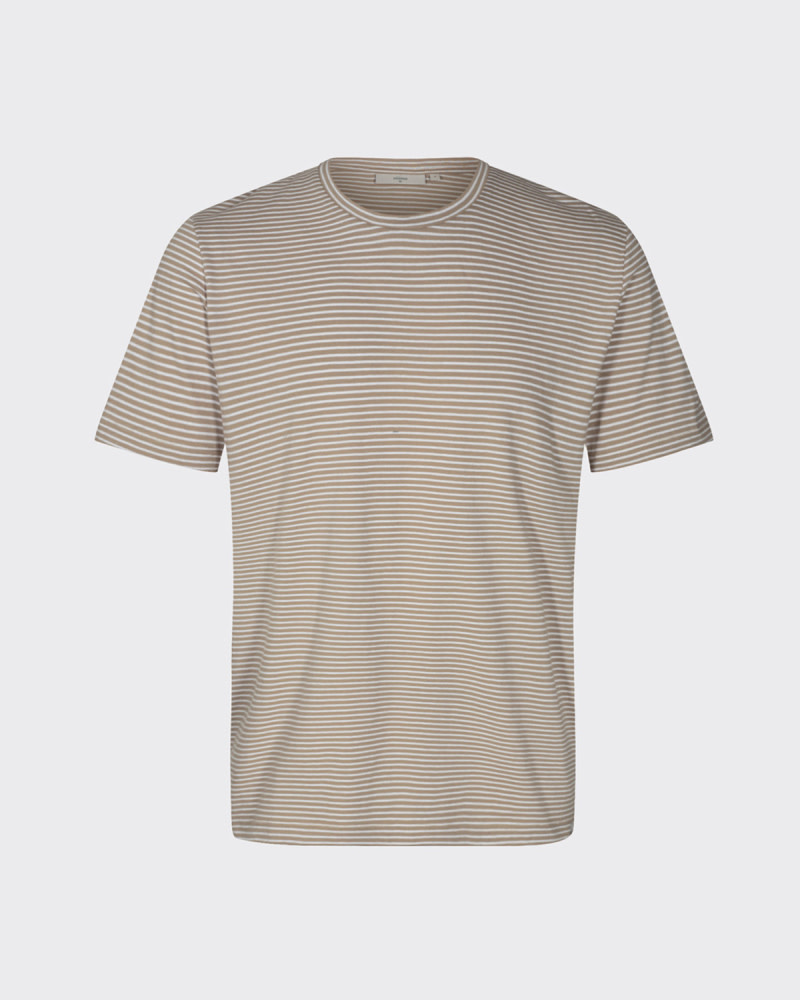 Minimum Minimum Luka Tee 3254 Stripe Seneca Rock Brown
