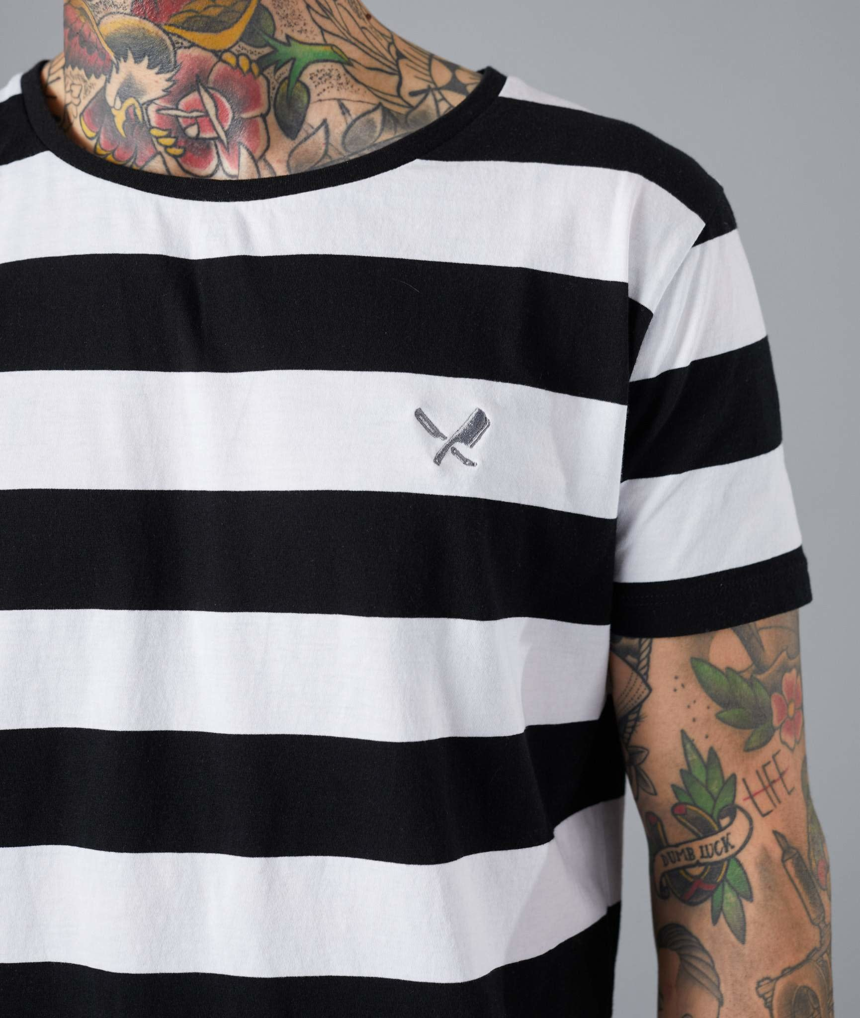 Distorted People Distorted People Classic Grand Crew Neck Stripe  Tee 2763 Black/White