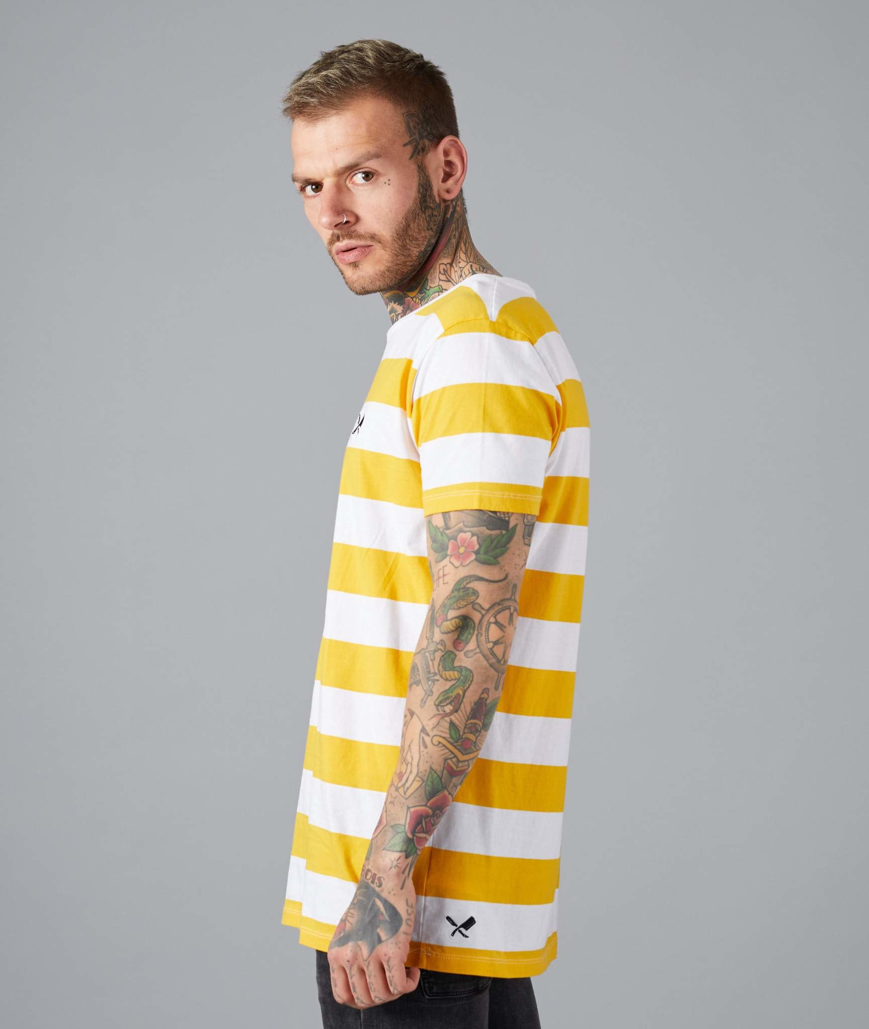 Distorted People Distorted People Classic Grand Crew Neck Stripe  Tee 2764 Yellow/White