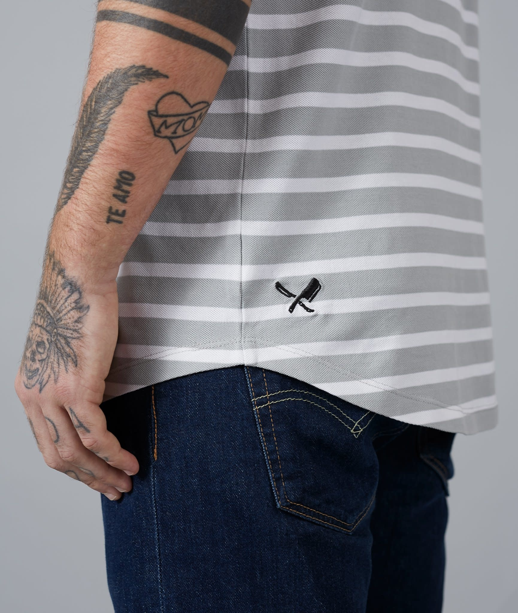 Distorted People Distorted People Premium Stripe Polo 2699 White/Grey