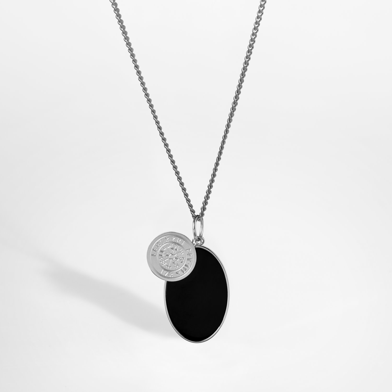 Northern Legacy Northern Legacy Vegvisir-Onyx Necklace Black/Silver