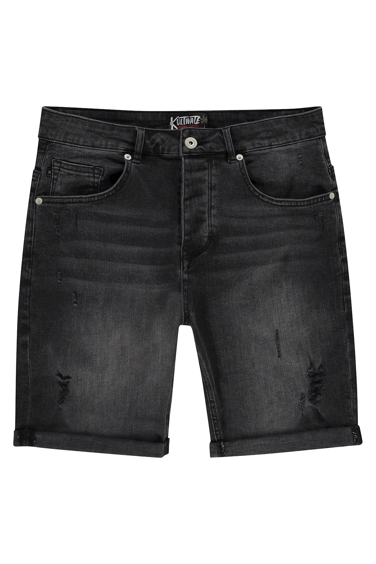 Kultivate Kultivate 5-pocket Damaged Denim short black