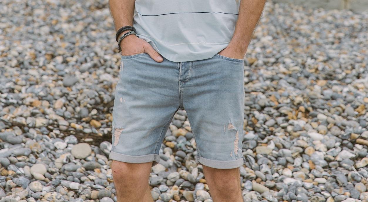 Kultivate Kultivate 5-pocket Damaged Denim short blue